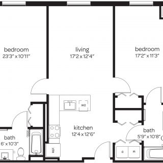 two bedroom apartment floor plan at Rodney Square