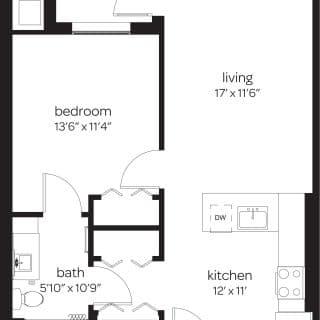 One bedroom apartment floor plan at Wilmington, DE apartment