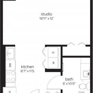 Rodney Square studio apartment floor plan