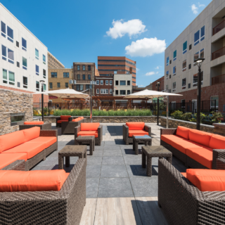 the residences at mid-town park courtyard